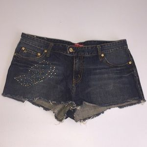 Jean Butterfly studded cut off shorts